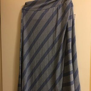 Lularoe navy and grey striped cotton maxi skirt 2x